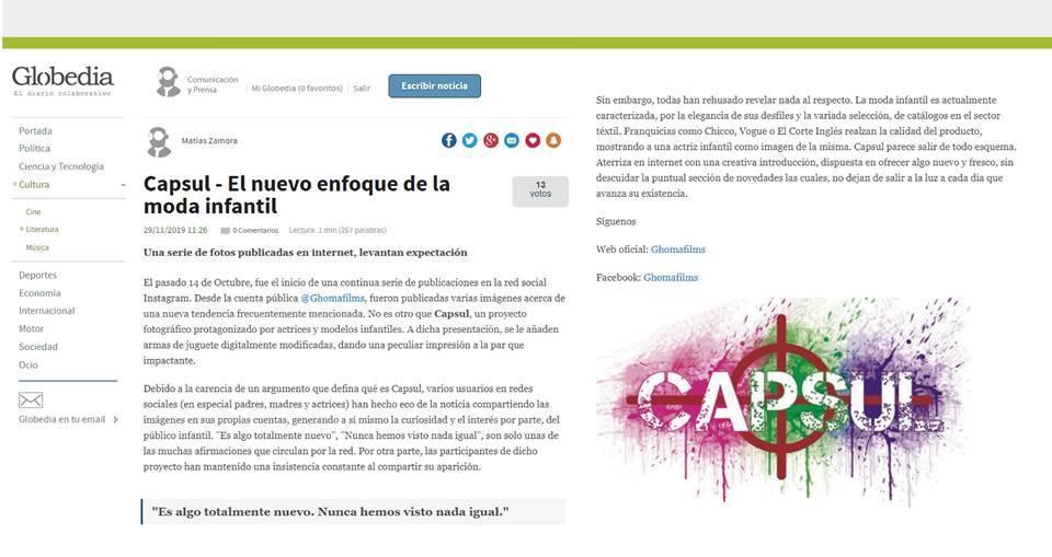 El diario Globedia habla sobre el proyecto Capsul
